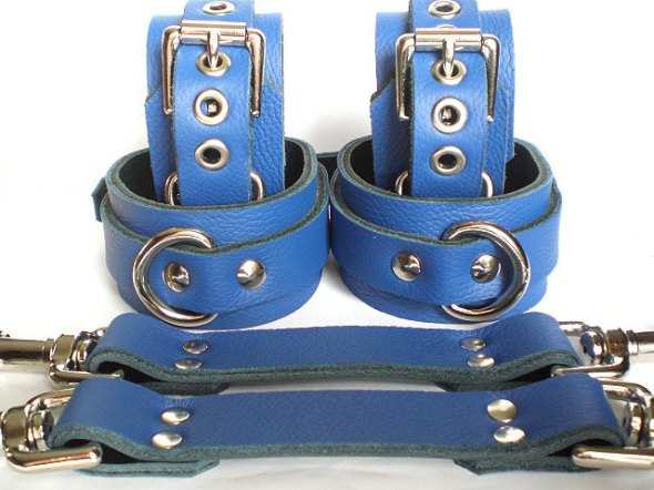 Blue Leather BDSM Bondage Restraints